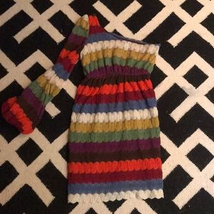 JUDITH MARCH crochet one sleeve multicolored dress